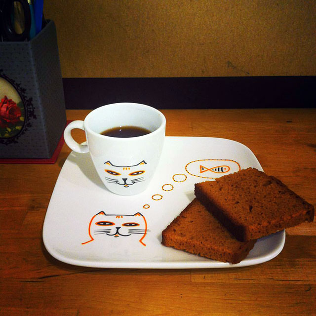 Porcelaine-Set Petit Dejeuner Chat