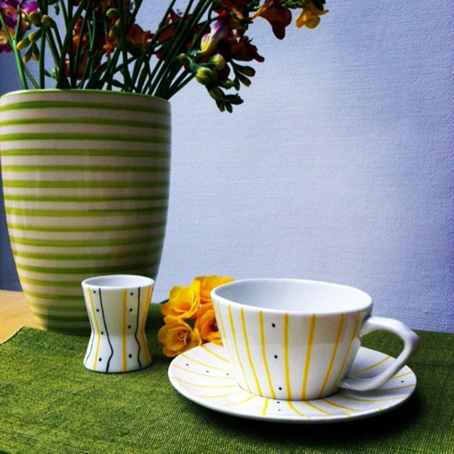 Porcelaine-Assiette-tasse- Yellow Tea