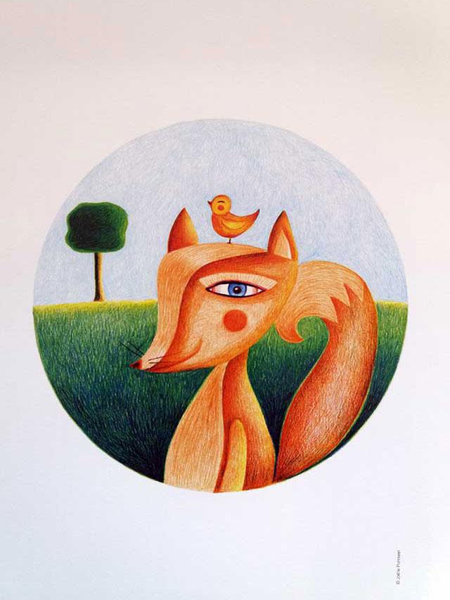 Dessin-Le renard-Loiseau